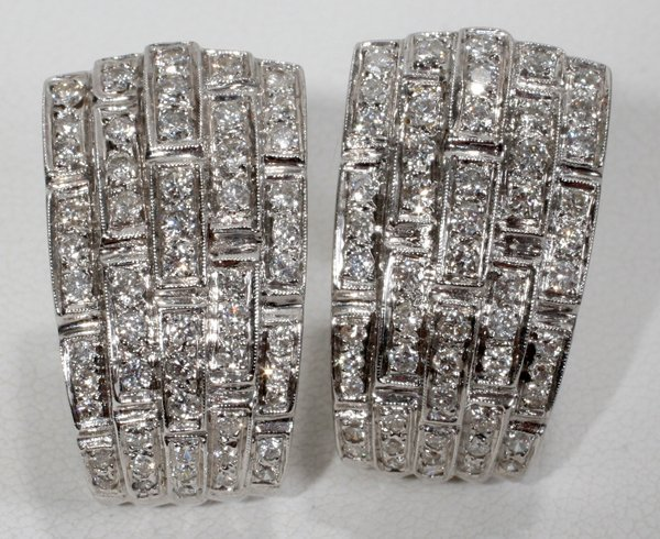 090022: 2.00 CT. PAVE ART DECO FORM EARRINGS, L 7/8""
