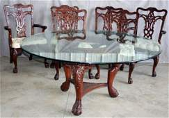 090054: CARVED MAHOGANY DINING TABLE AND CHAIRS, 7 PCS.