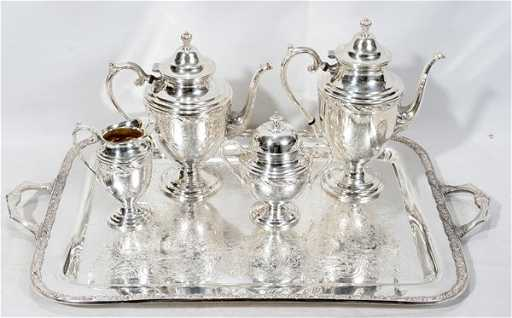 090131: WM. ROGERS & SON, SILVER PLATE TEA SET, 5 PCS.