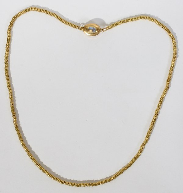 091019: G.JENSEN YELLOW GOLD NECKLACE W/MOONSTONE CLASP