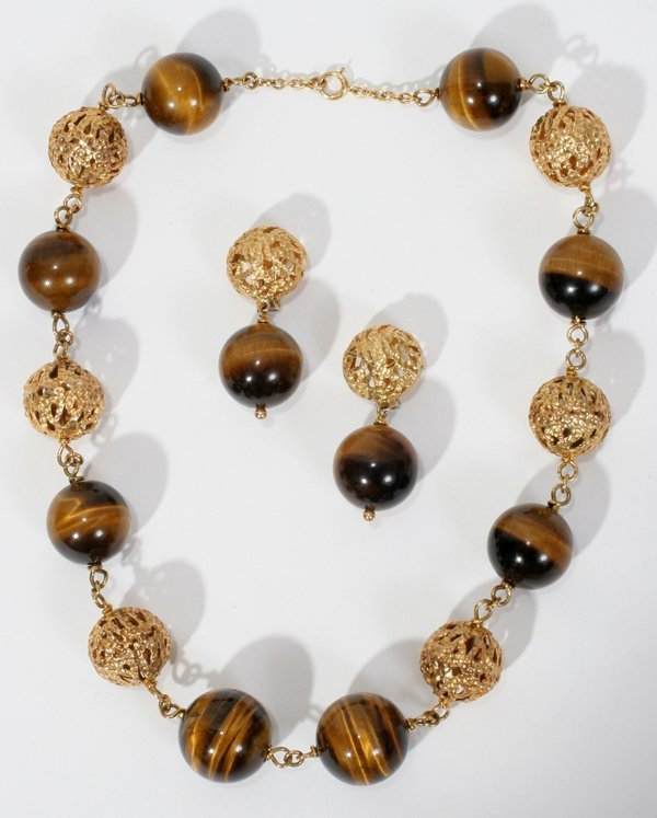 091020: VAN CLEEF, ARPELS GOLD, TIGER'S EYE NECKLACE &