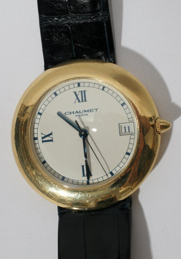 091021: CHAUMET 18KT GOLD GENTLEMAN'S WRIST WATCH,