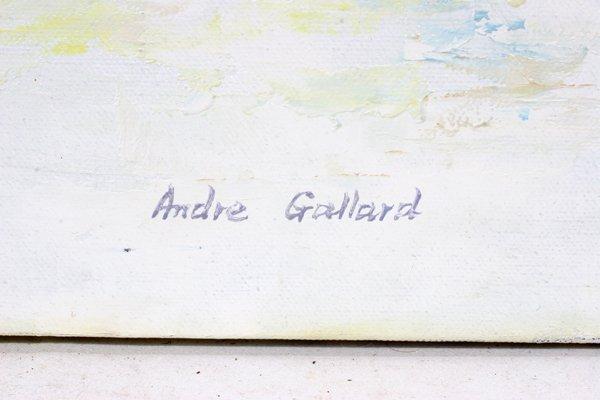 091306: ANDRE GALLARD OIL/CANVAS LAKE SETTING W/BOATS - 2