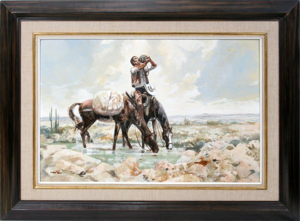 092004: DAVID E. FERN OIL ON MASONITE, COWBOY IN DESERT
