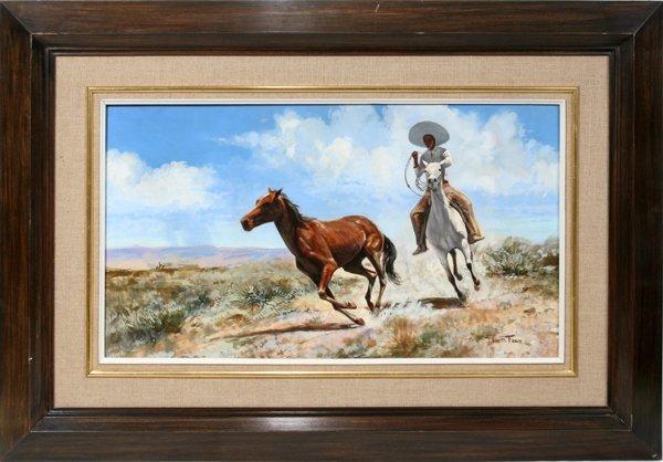 092005: DAVID E. FERN OIL ON MASONITE, HORSE CHASE