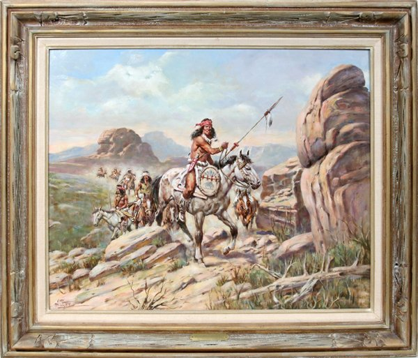 """092007: CHARLES SULTAN OIL ON BOARD """"APACHE WAR PARTY"""":"""