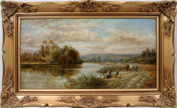 092013: ALFRED A. GLENDENING OIL/CANVAS, WOMEN ON SHORE