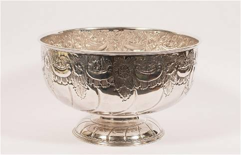 """SHEFFIELD PLATE HAND CHASED PUNCH BOWL H 9"""" W 15"""""""