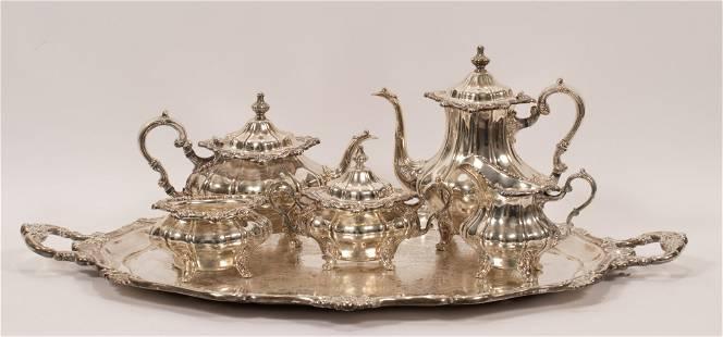 "GORHAM 'ROSEWOOD' SILVER PLATE TEA SET, 6 PCS, H 3""-10"""
