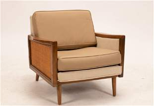 """MID CENTURY MODERN UPHOLSTERED ARMCHAIR H 25"""" W 29"""" D"""