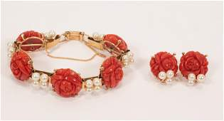 14K YELLOW GOLD, CORAL, AND CULTURED PEARL BRACELET