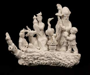 """CHINESE WHITE PORCELAIN FIGURE GROUP H 9"""" W 11"""""""