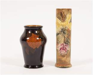 "ROOKWOOD AND WELLER VASES 2 PCS H 4.5""-6"""