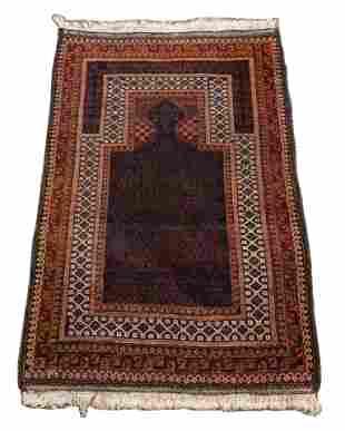 "PERSIAN HANDWOVEN WOOL RUG, W 4' 8"", L 3'"