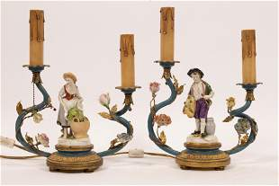PORCELAIN FIGURES AND GILT METAL ELECTROLIERS PAIR H