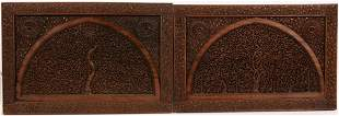 """INDIAN CARVED WOOD PANELS, 19TH.C. PAIR H 17"""" W 25"""""""