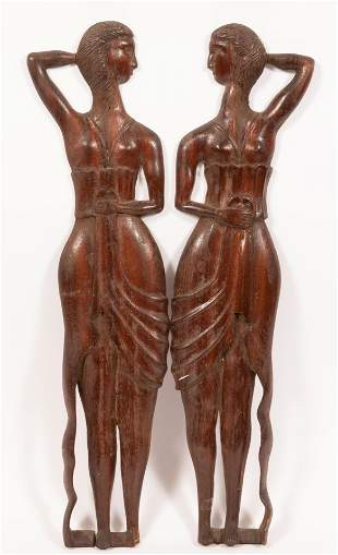ART DECO STANDING FEMALE FIGURE WALL ORNAMENTS C 1920
