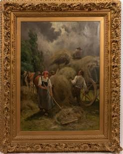 """JULIEN JOS (BELGIAN, C. 1900) OIL ON CANVAS, H 33"""", W"""