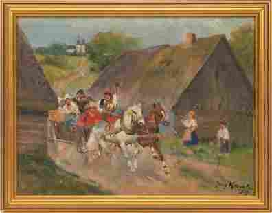 JERZY KOSSAK, 1885 - 55, OIL ON CANVAS BOARD 1939 H