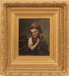 """OIL ON CANVAS, C 1900 H 12"""" W 10"""" GIRL WITH CAT"""