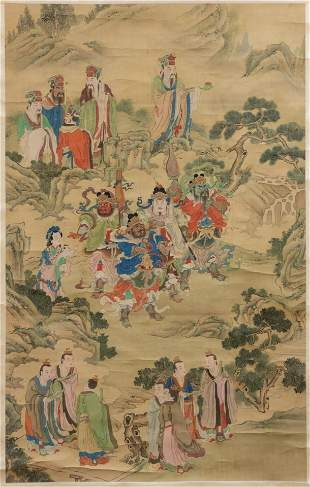 CHINESE PAINTING ON SILK SCROLL, 19TH CENTURY, H 60.5""