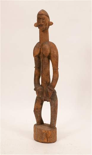 DOGON, MALI AFRICAN, CARVED WOOD STANDING FEMALE FIGURE