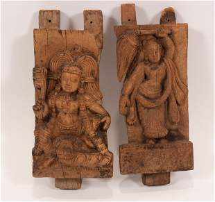"""INDIAN CARVED WOOD PANELS, 19TH C., TWO, H 10"""", W 5"""""""