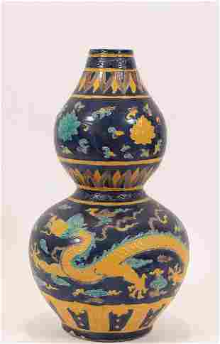 "CHINESE FAHUA GOURD-FORM VASE, H 14.5"", DIA 8"""