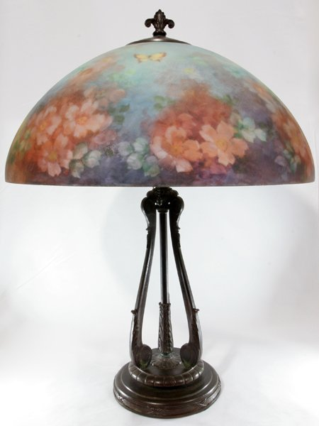 101002: HANDEL REVERSE-PAINTED GLASS TABLE LAMP, C.1919