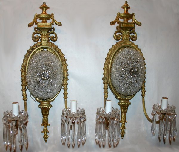 101004: FRENCH CRYSTAL & BRONZE SCONCES, C. 1900-20