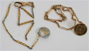 101498 14KT GOLD POCKET WATCH  A GOLDFILLED CHAIN