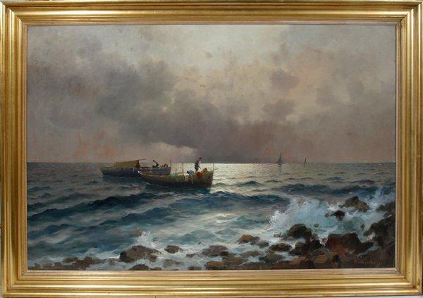 """102001: M. RINALDI OIL ON MASONITE 38"""" X 58"""" FISHERMEN"""