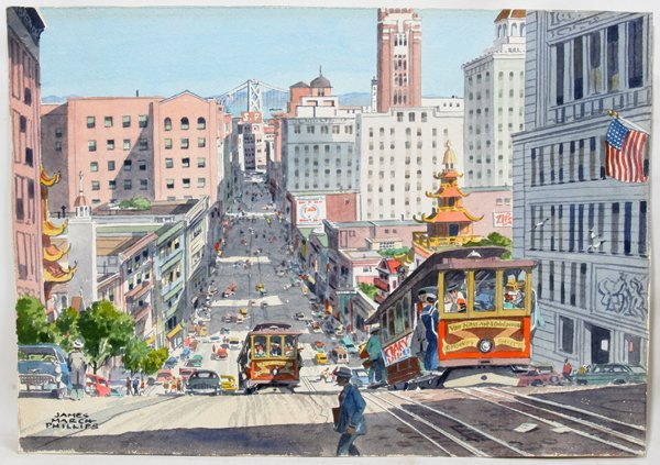 102018: JAMES MARCH PHILLIPS WATERCOLOR SAN FRANCISCO