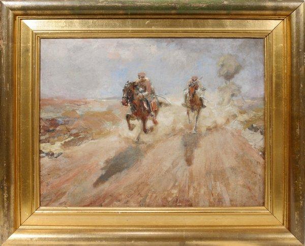 """102024: KYRIL VASSILEV OIL/CANVAS, """"GALLOPING HORSEMEN"""""""