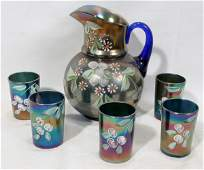 102462: VICTORIAN PEACOCK ART GLASS PITCHER TUMBLERS,