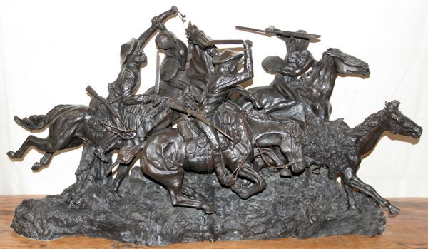 """110034: AFTER FREDERIC REMINGTON, BRONZE """"OLD DRAGOONS"""""""