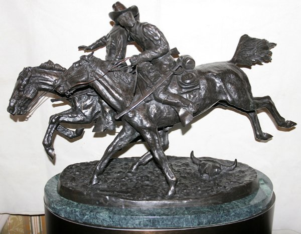 """110036: AFTER FREDERIC REMINGTON BRONZE """"WOUNDED BUNK"""