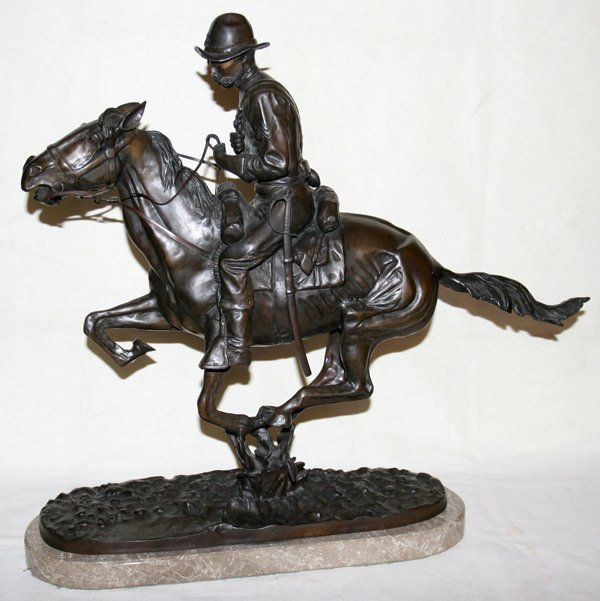 """110038: AFTER FREDERIC REMINGTON BRONZE """"TROOPER OF THE"""