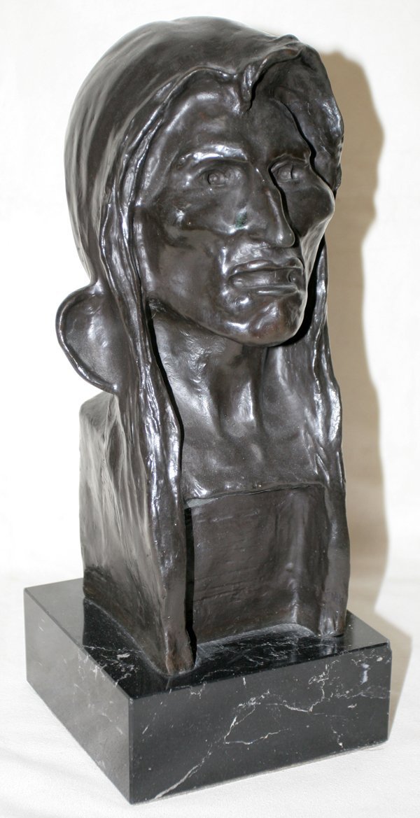 110040: AFTER FREDERIC REMINGTON BRONZE AMERICAN INDIAN
