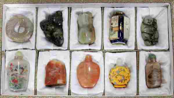 CHINESE HARD STONE AND PORCELAIN SNUFF BOTTLES