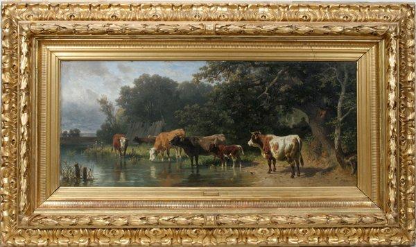 """112004: FREDERICK VOLTZ, OIL ON BOARD, 1878, 15"""" X 36"""""""
