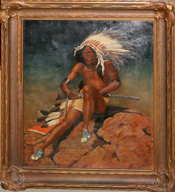 """112016: OIL PAINTING ON CANVAS, 19TH C., 30"""" X 25"""","""