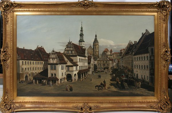 112019: AFTER BERNARDO BELLOTTO OIL ON CANVAS LAID DOWN