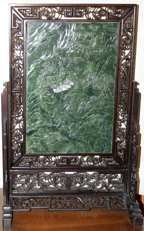 "111002: CHINESE JADE TABLE SCREEN, 22"" X 15"""