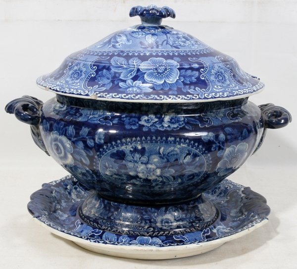 111019: STAFFORDSHIRE FLOW BLUE COVERED TUREEN ON STAND