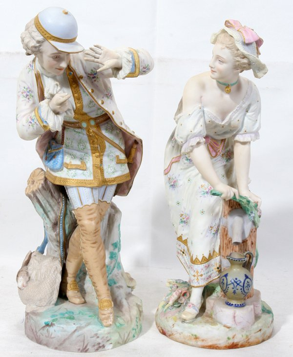 111020: VICTORIAN BISQUE FIGURES, 19TH C., TWO, H 15""