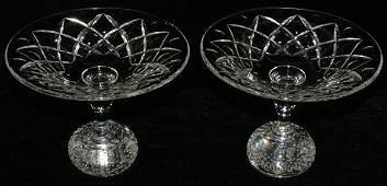 """111217: WATERFORD STYLE CRYSTAL COMPOTES, PAIR, H 5"""","""