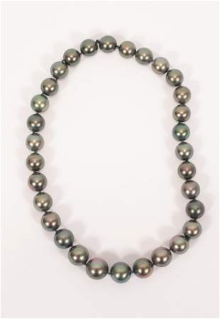 SOUTH SEA BLACK PEARL NECKLACE 12.5MM - 15.5MM