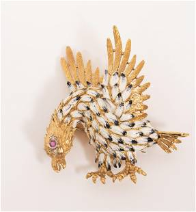 18KT YELLOW GOLD, ENAMEL BROOCH IN THE FORM OF A BIRD H
