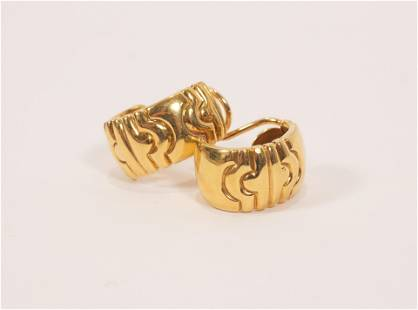 18KT YELLOW GOLD EARRINGS, PAIR